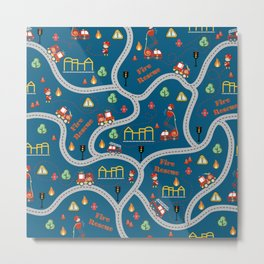 Fireman cute seamless kids pattern navy blue Metal Print