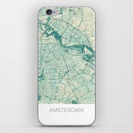 Amsterdam Map Blue Vintage iPhone Skin