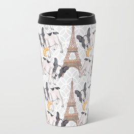 French Buldog with Croissant Hand-Painted Eiffel Tower Illustration Travel Mug