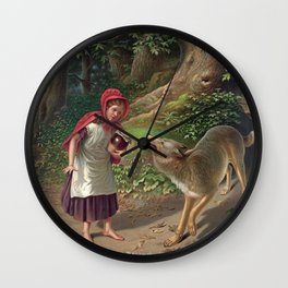 Little Red Riding Hood and the wolf Wall Clock