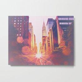 New York City Bokeh Sunset Metal Print