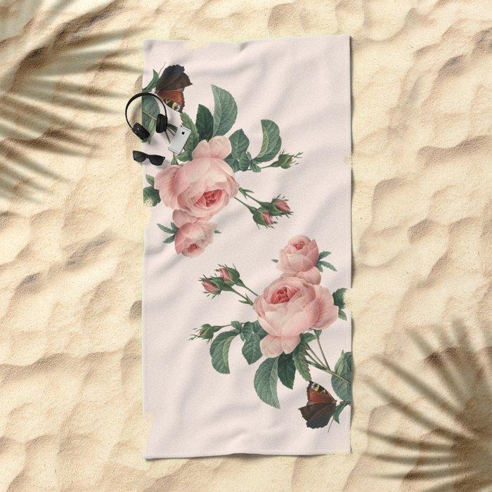 Butterflies in the Rose Garden Beach Towel