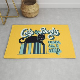 Cats and Books: That's All I Need Quote Art - Blue, Turquoise, Yellow, White, Black Rug