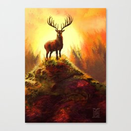 Stag Upon The Hill Canvas Print