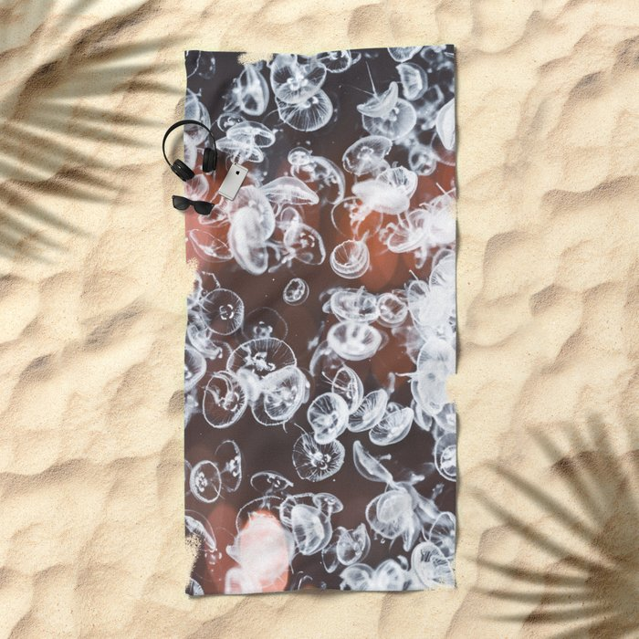 Electric Jelly fish Beach Towel