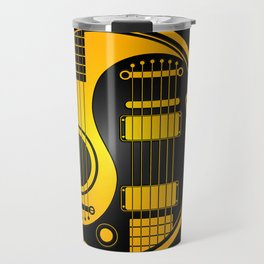 Yellow and Black Acoustic Electric Yin Yang Guitars Travel Mug