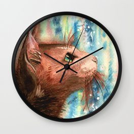 Brown kitty Wall Clock