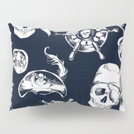 Navy Blue Pirate Pattern Pillow Sham
