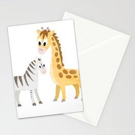 Safari Baby Zebra and Giraffe Stationery Cards