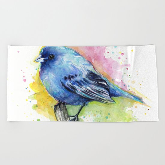 Blue Bird Indigo Bunting Colorful Animals Beach Towel