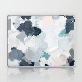 Navy Indigo Blue Blush Pink Gray Mint Abstract Air Clouds Art Sky Painting Laptop & iPad Skin