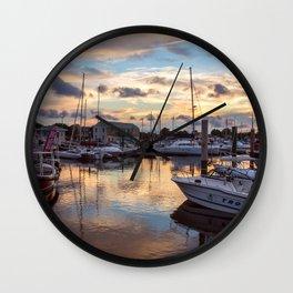 Portsmouth Marina at Sunset Wall Clock