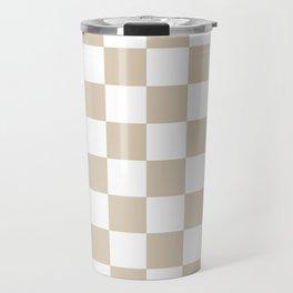 Brown, Beige: Checkered Pattern Travel Mug