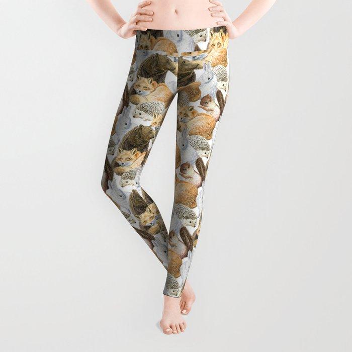 woodland animals pattern Leggings