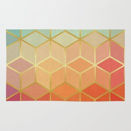 Pattern of squares with gold III Rug