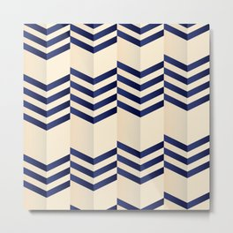 Offset Thin Dark Blue Chevron Stripes on Cream Metal Print
