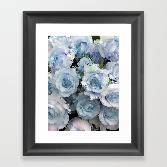 Ice Blue Roses Framed Art Print