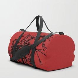 Creepy tree silhouette, black on red Duffle Bag