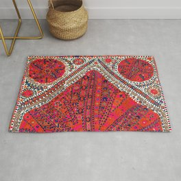 Pink Wildflower Sunshine III // 18th Century Colorful Pinkish Red Blue Sapphire Metallic Happy Patte Rug