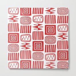 Retro Mid Century Modern Check Pattern 240 Red Metal Print