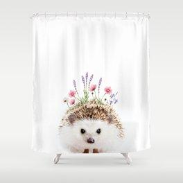 Hedgehog with Flower Crown Shower Curtain