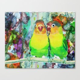 Neon Watercolor Parrot Print or Posters Canvas Print