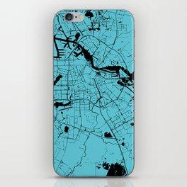 Amsterdam Turquoise on Black Street Map iPhone Skin