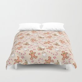 Gingerbread & Peppermint Repeat Pattern -Holiday Pattern Duvet Cover