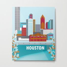Houston, Texas - Skyline Illustration by Loose Petals Metal Print