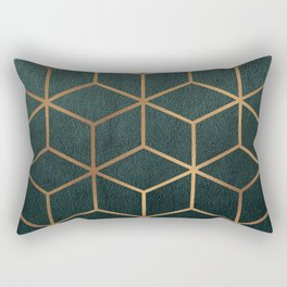 Dark Teal and Gold - Geometric Textured Gradient Cube Design Rectangular Pillow