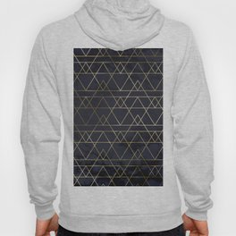 Modern Deco Gold and Marble Geometric Mountains on Navy Blue Hoody