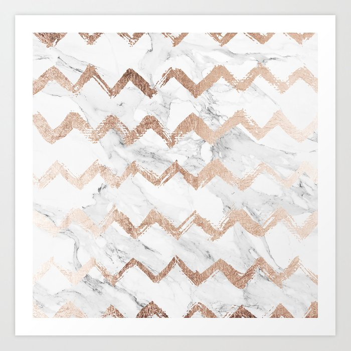 Chic Faux Rose Gold Chevron White Marble Pattern Art Print