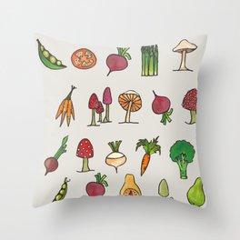 Vegetable Mushroom Fruit Pattern Throw Pillow