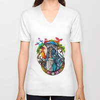 elf V-neck T-shirts featuring Celtic elf by Raquel C. Hita - Sednae