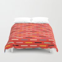 toddler Duvet Covers featuring Modern Scandinavian Dash Red by Season of Victory