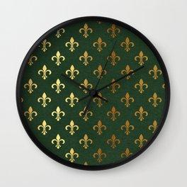 Green and Metallic Gold Fleur-de-lis Wall Clock