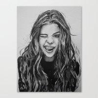 selena Canvas Prints featuring Hello Selena! by vooce & kat