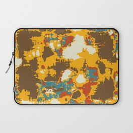 psychedelic geometric painting texture abstract in yellow brown red blue Laptop Sleeve