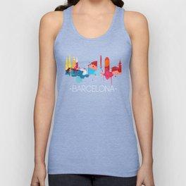 Barcelona Cityscape Watercolor Unisex Tank Top