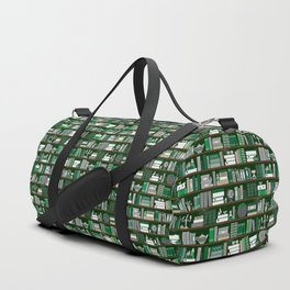 Book Case Pattern - Green and Grey Duffle Bag