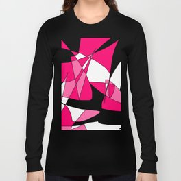 Windy Peaks - Abstract Pinks on Black Long Sleeve T-shirt