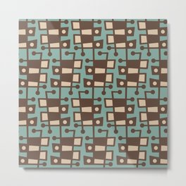 Mid Century Modern Abstract 212 Sage Green and Brown Metal Print