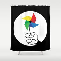 wind Shower Curtains featuring wind by rods outdoors