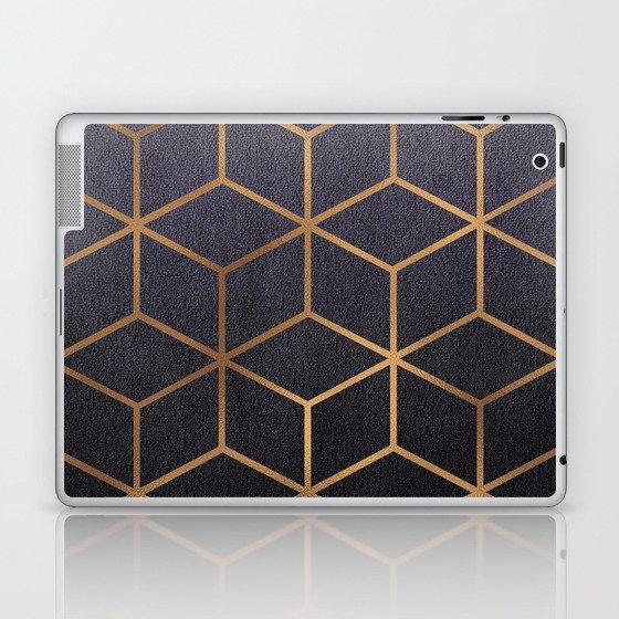 Dark Purple and Gold - Geometric Textured Gradient Cube Design Laptop & iPad Skin
