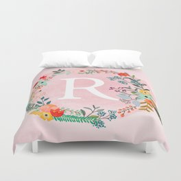 Flower Wreath with Personalized Monogram Initial Letter R on Pink Watercolor Paper Texture Artwork Duvet Cover