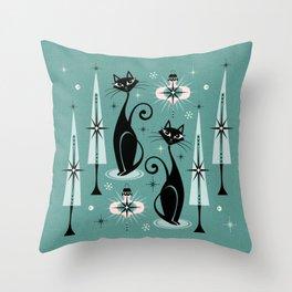 Mid Century Meow Atomic Kitty Christmas ©studioxtine Throw Pillow