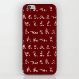 ASL Alphabet // Maroon iPhone Skin