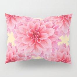 PINK DAHLIA FLOWERS IN YELLOW-GREY Pillow Sham