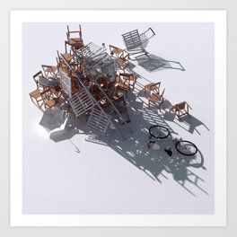 Climbing with the kitchen sink Art Print