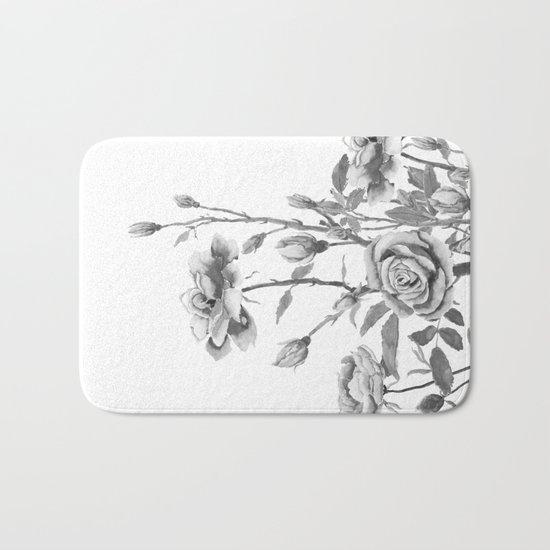 black and white roses Bath Mat